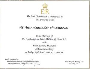 invitatie pentru ambasadorul romaniei