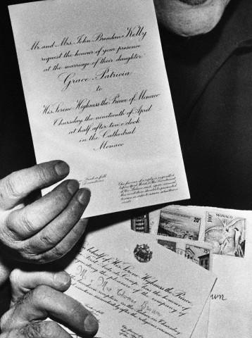 Invitatia de nunta a printesei Grace Kelly